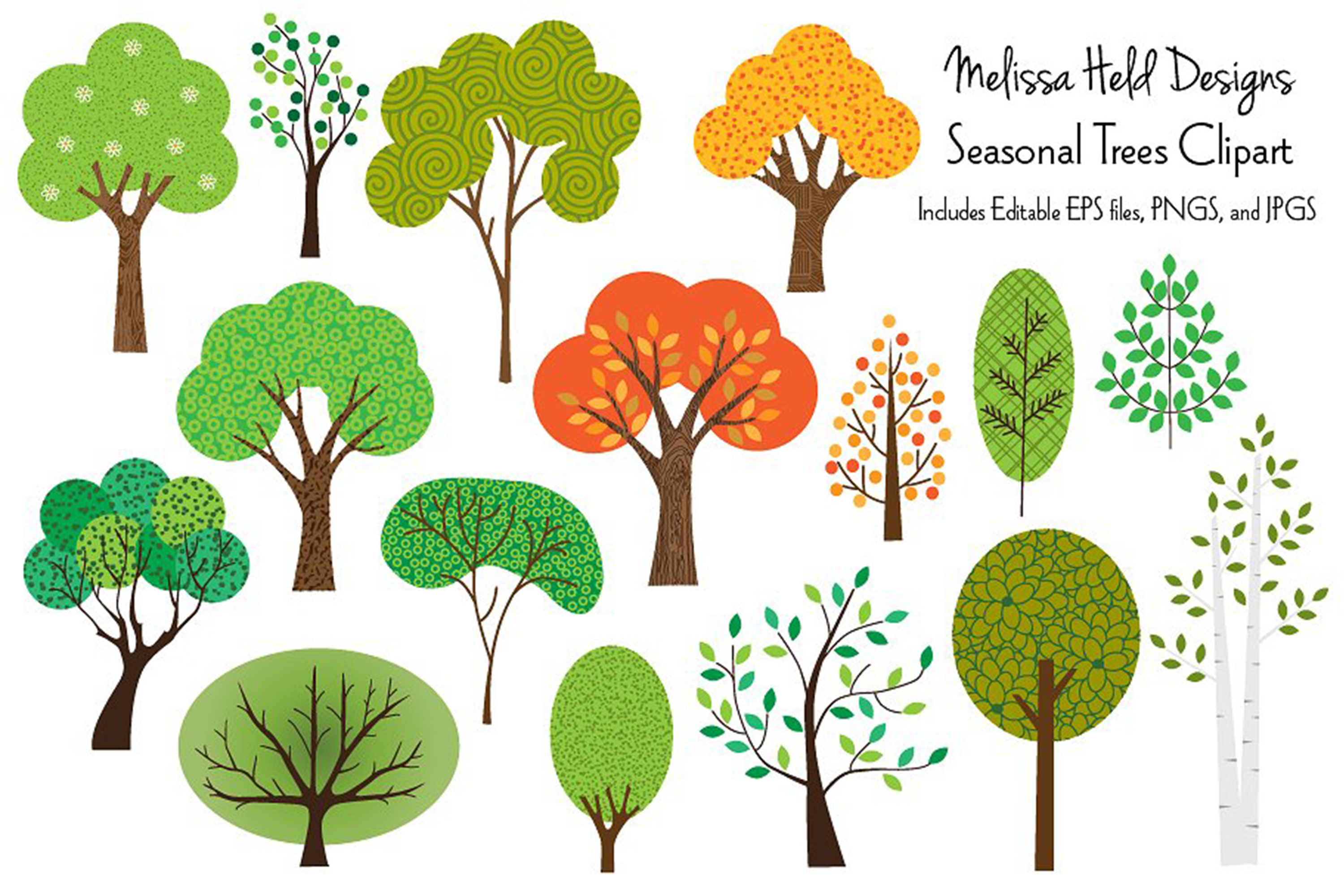Seasonal Trees Clipart example image 1