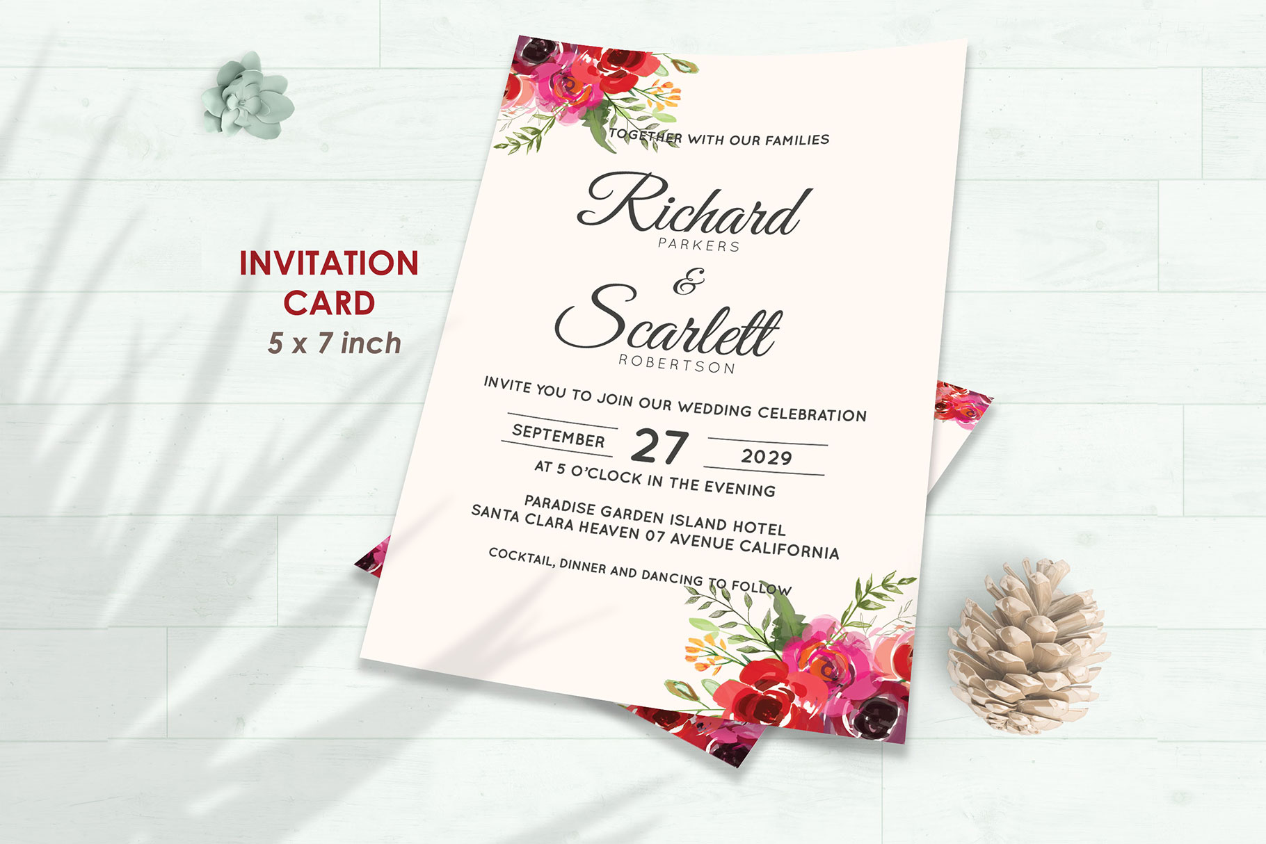 Wedding Invitation Set #2 Watercolor Floral Flower Style example image 2