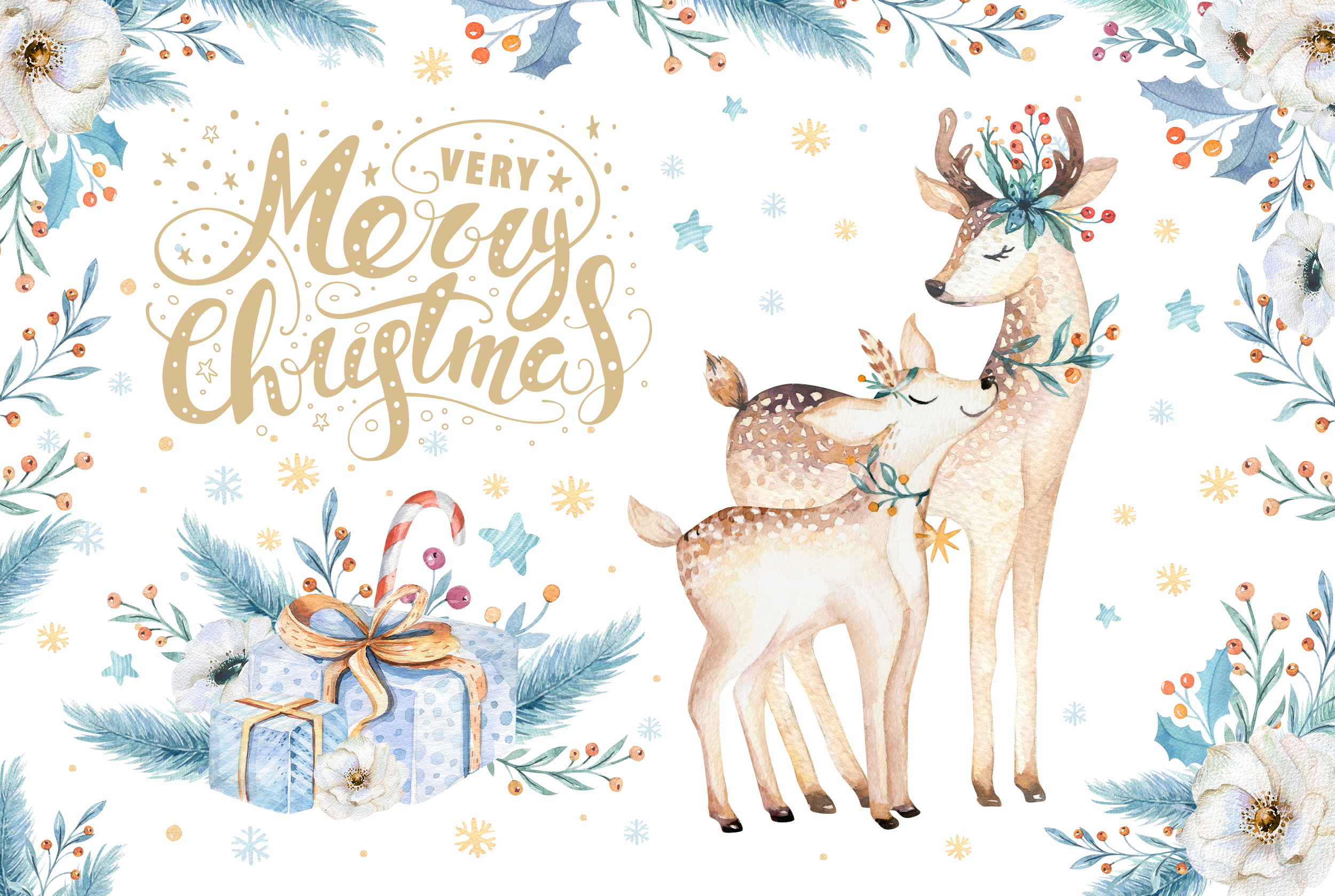 Watercolor Christmas deer example image 1
