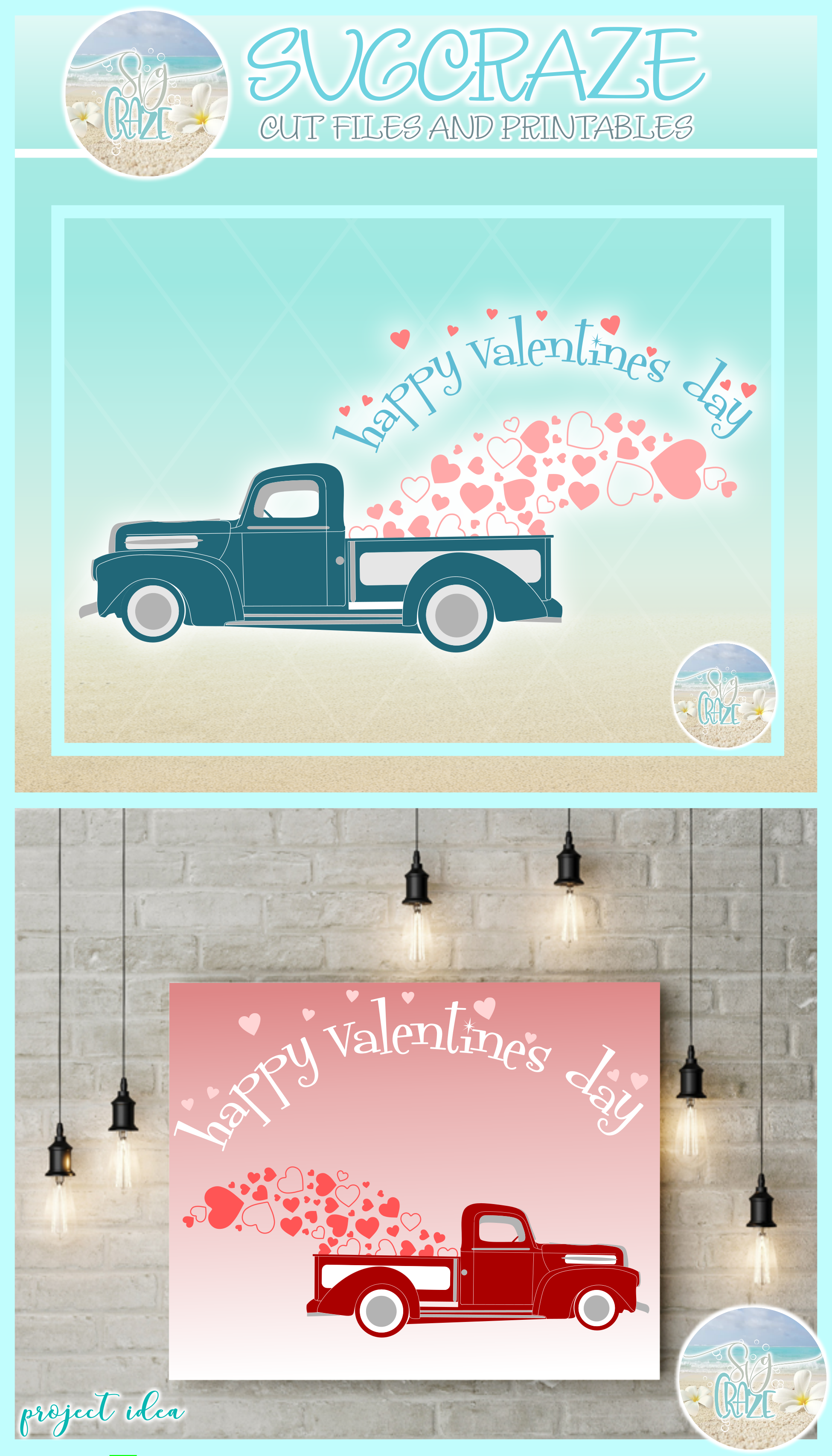 Happy Valentines Day Hearts Truck Svg Dxf Eps Png Pdf example image 4
