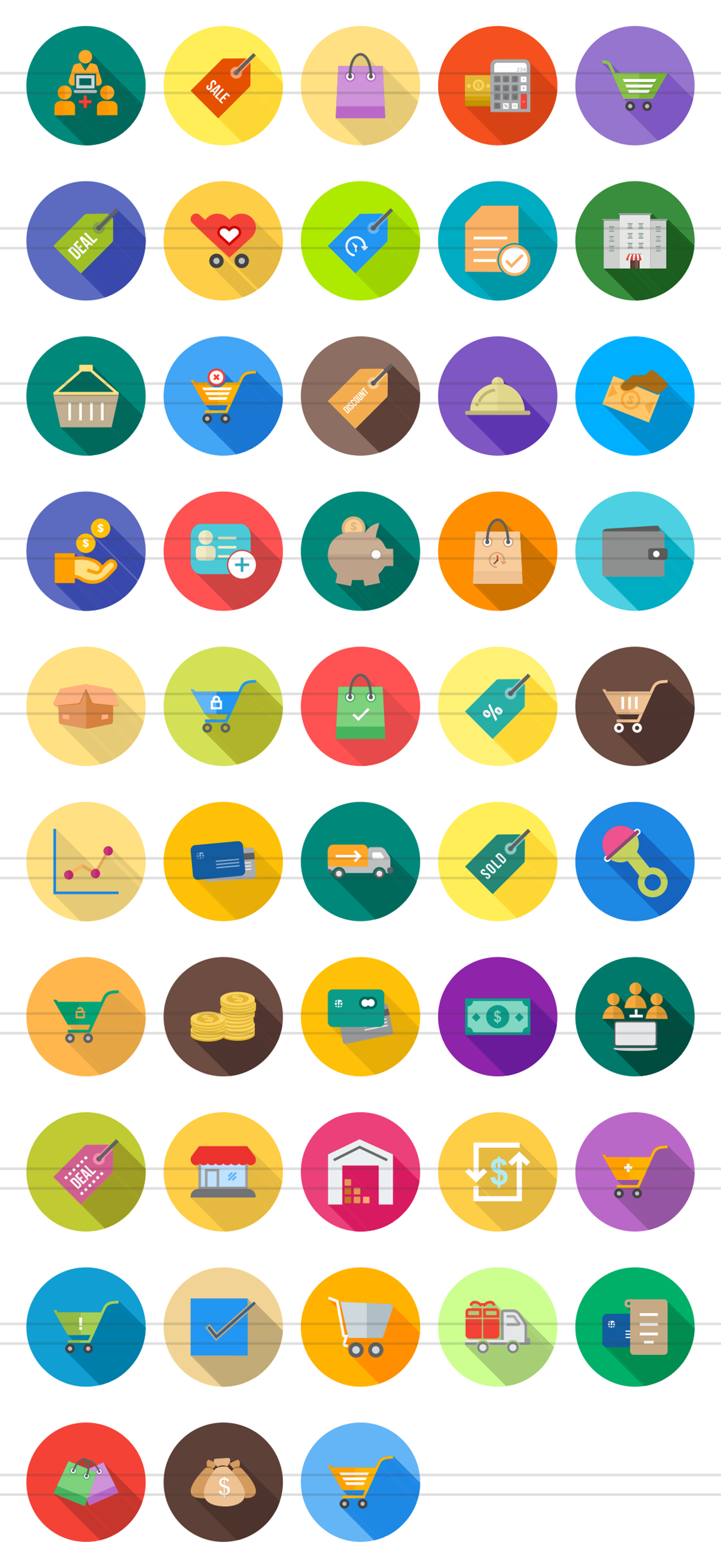 48 Ecommerce Flat Long Shadow Icons example image 2