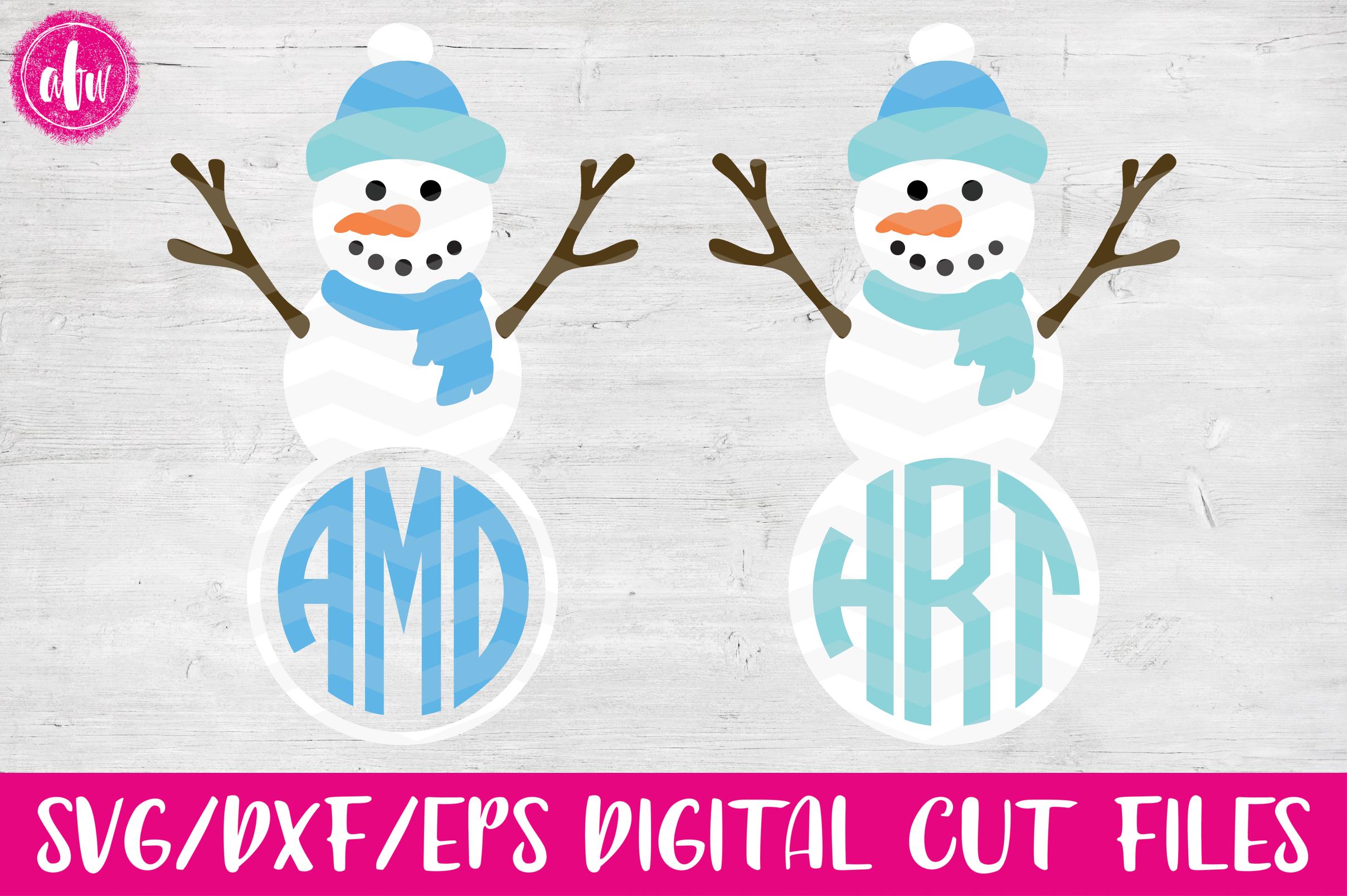 Monogram Snowman - SVG, DXF, EPS Cut File example image 1