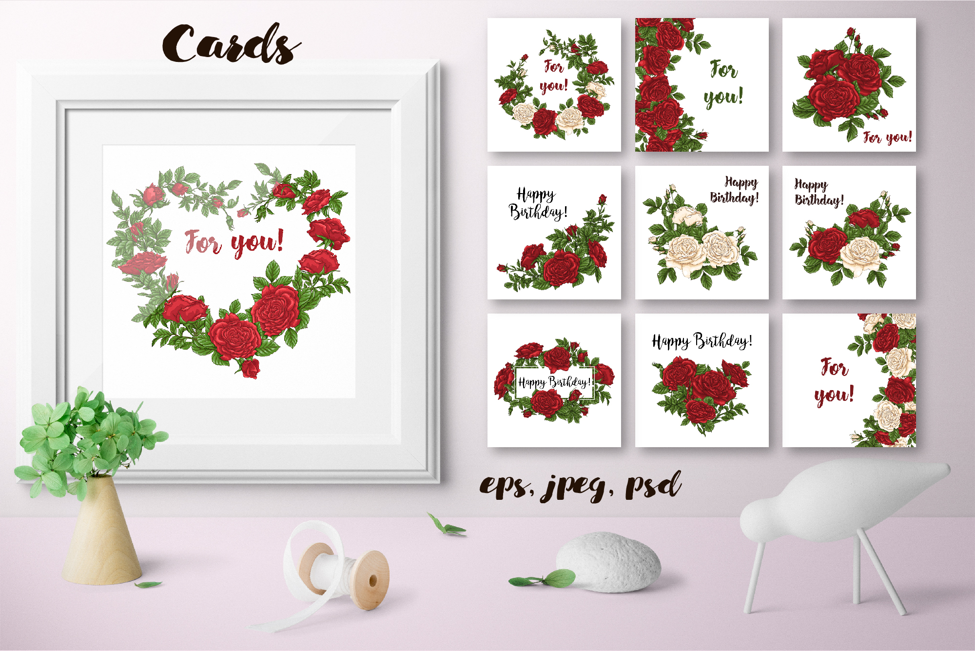 Roses – Vector Clip Art Set example image 15