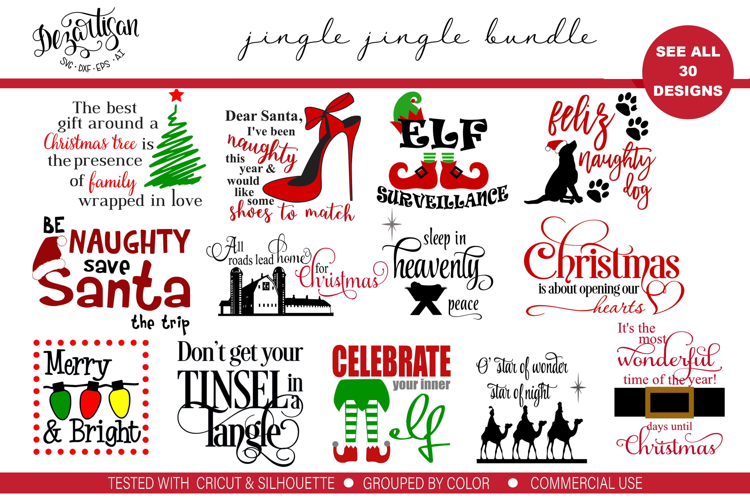 Jingle Jingle Bundle of 30 SVG DXF Cut Files example image 1