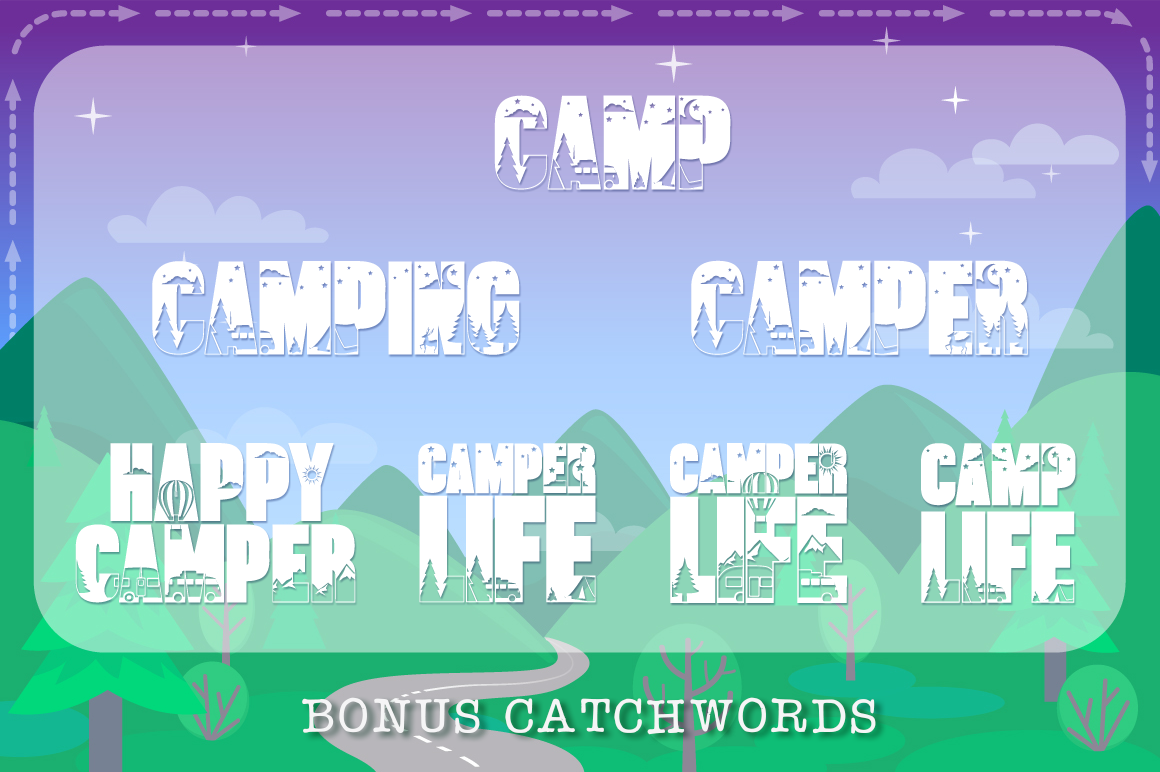 Let's Go Camping | Camping & Hiking Font with Extras example image 6