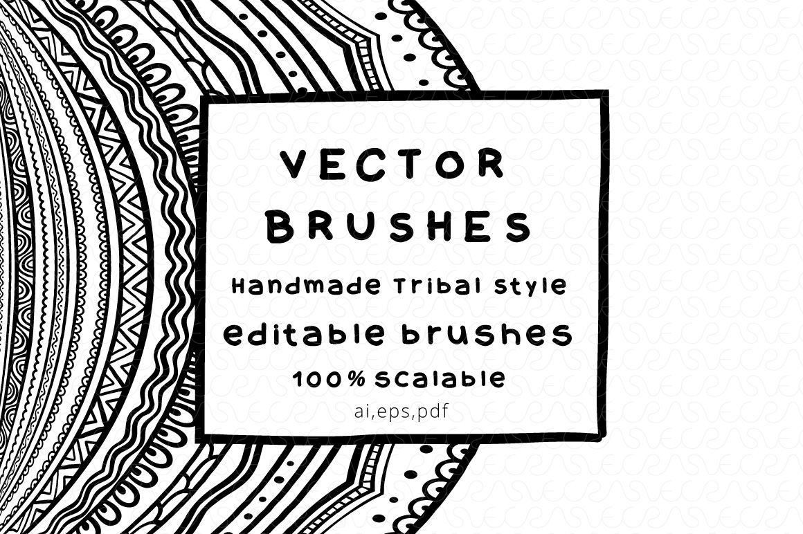 Vector Brushes - Handmade Tribal Style Graphics example image 1