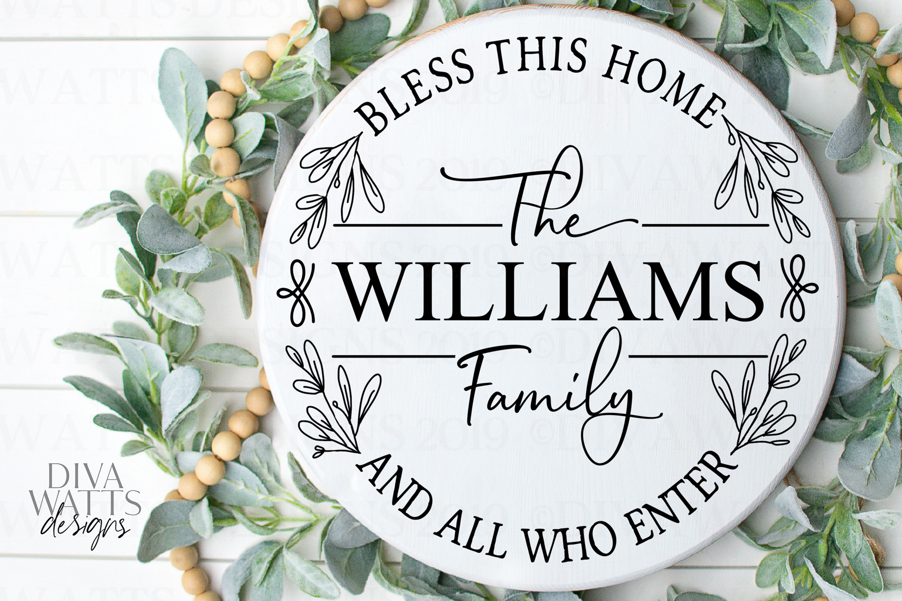 Bless This Home And All Who Enter - Family Name - Round SVG example image 1