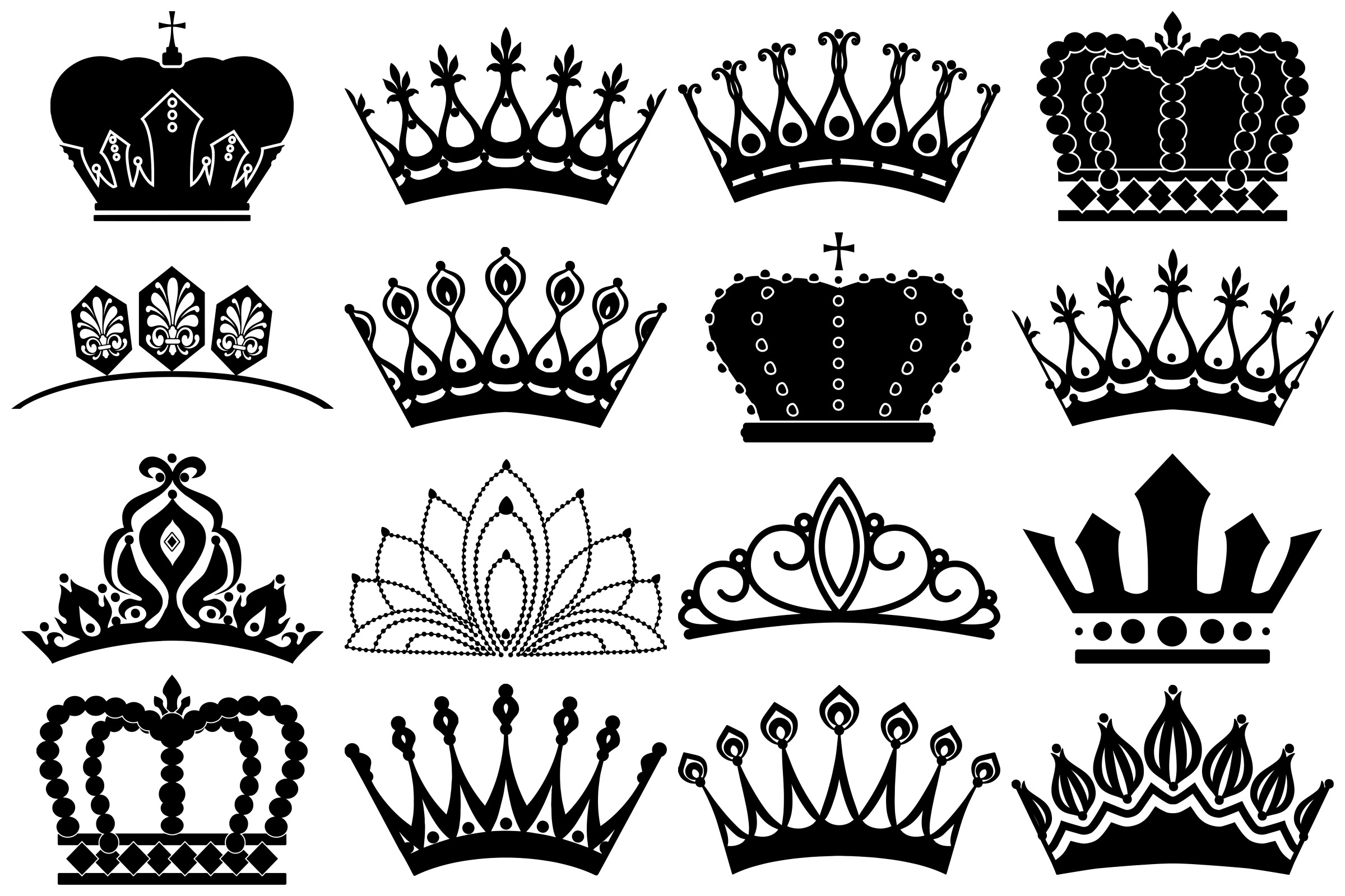 Tiara and Crown Silhouettes AI EPS PNG example image 4