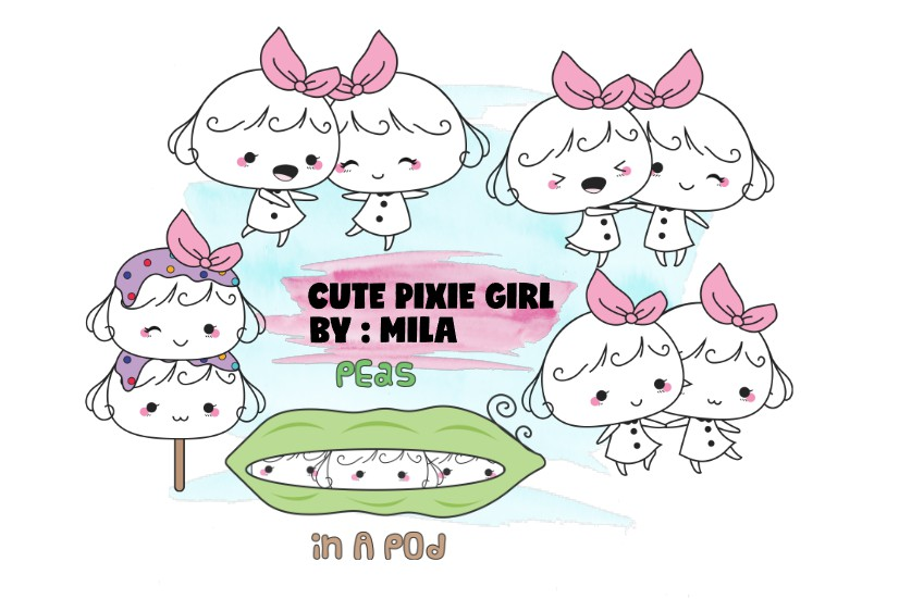 KAWAII GIRL CLIPART BUNDLE PNG example image 1