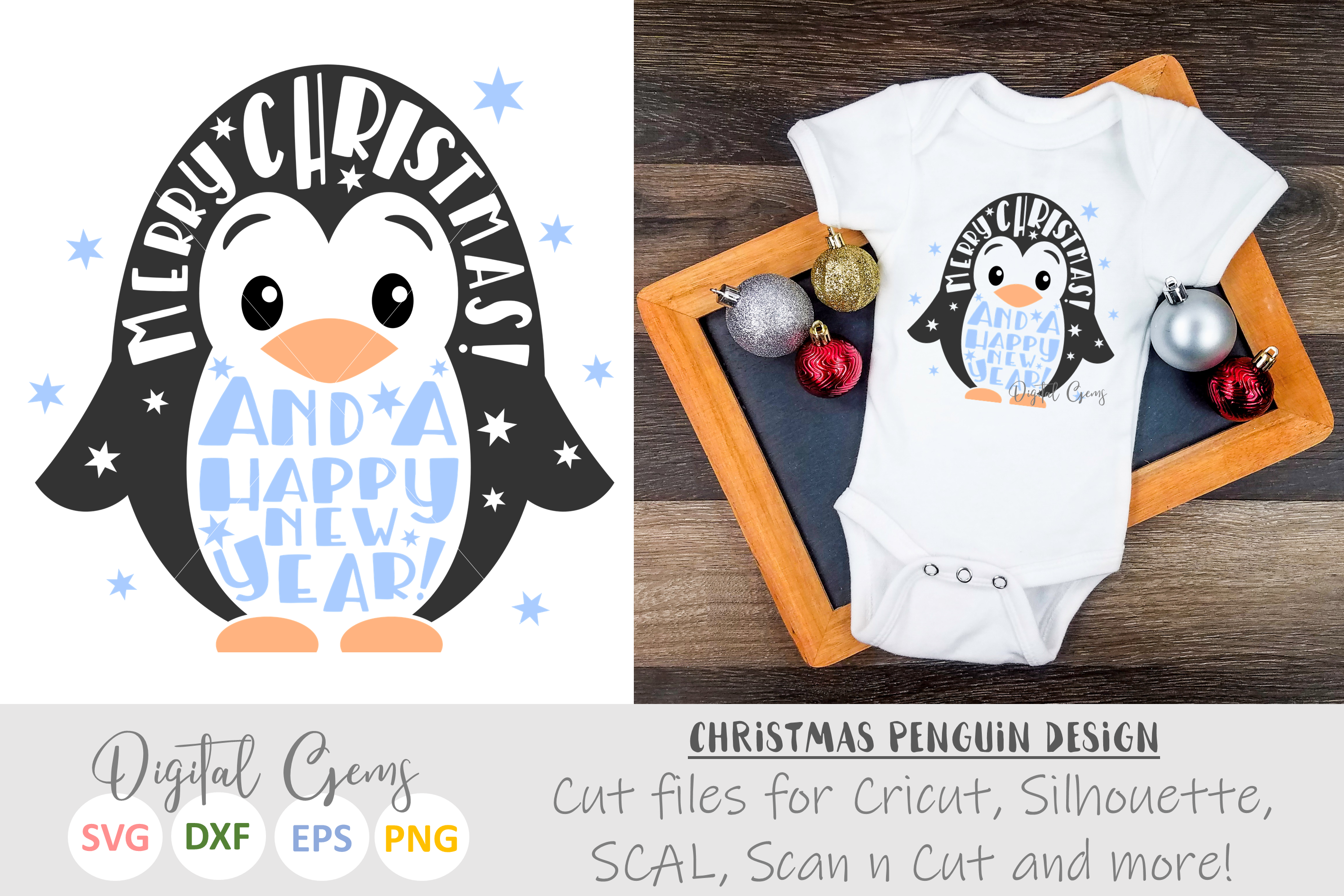 Merry Christmas and a happy new year, Penguin design example image 1