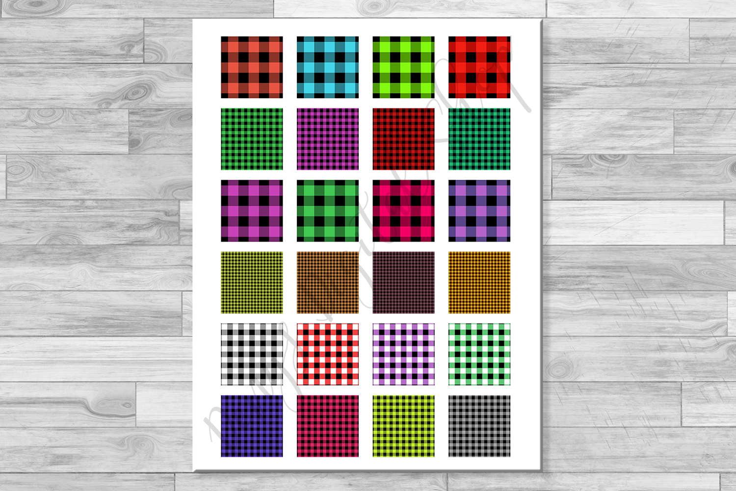 Buffalo Plaid Set,Collage Sheets, Rustic,1.5x1.5inch,1x1inch example image 3