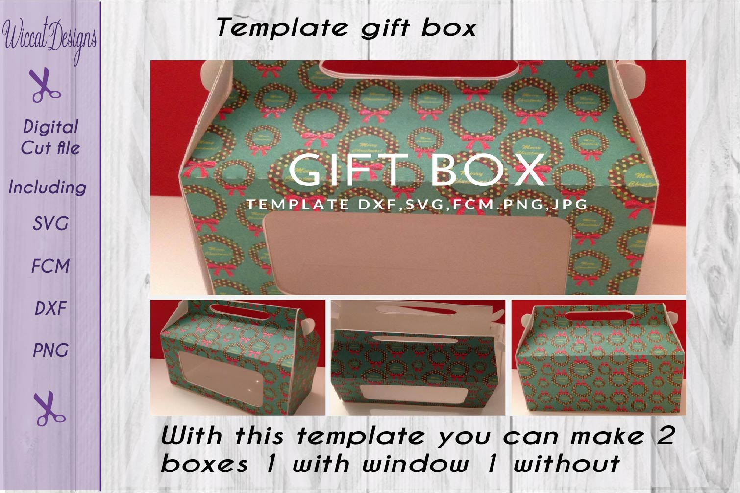 Gift box, paper Gift box svg, template box svg,  example image 1