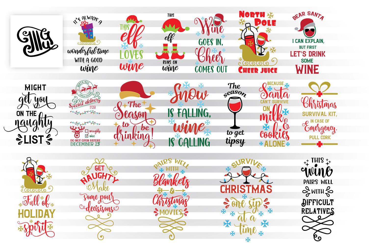 Christmas wine bag svg bundle example image 1