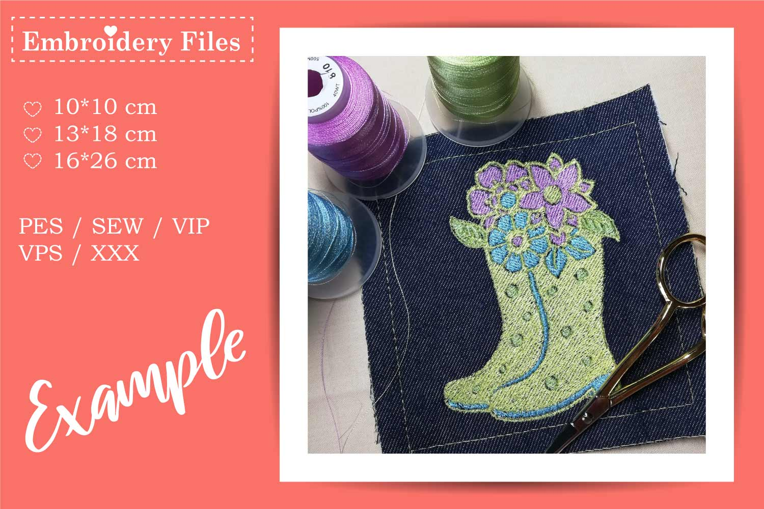Rubber Boots with Flowers - Embroidery File example image 1