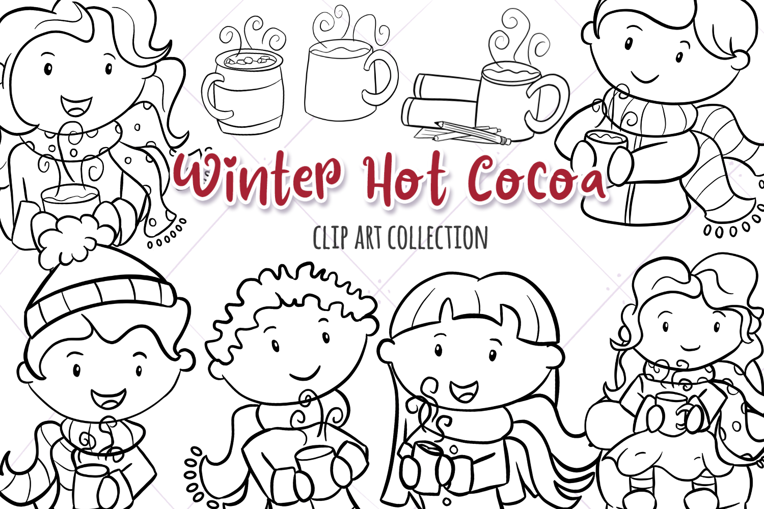 Winter Hot Cocoa Time Digital Stamps example image 1