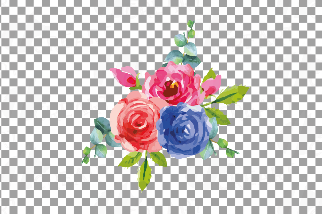 Watercolor Pink and Blue Roses and leafs clip art pack, png example image 11