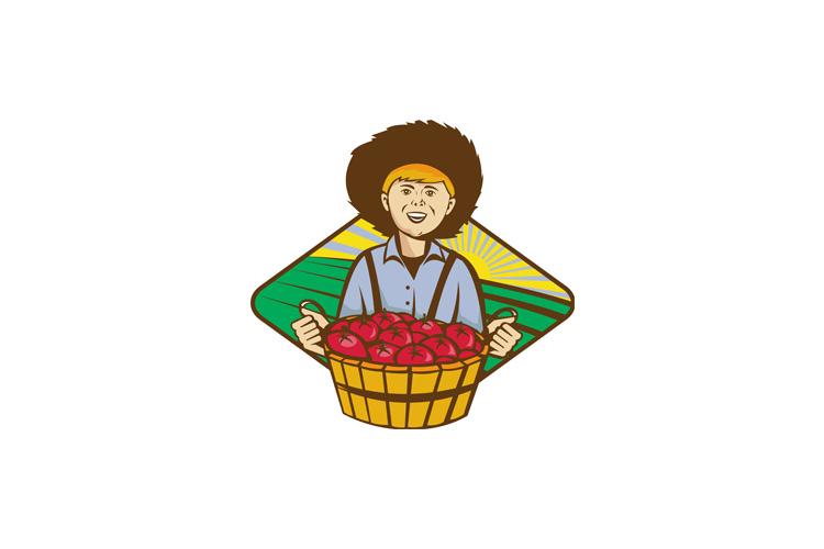 Farmer Boy Straw Hat Tomato Harvest example image 1