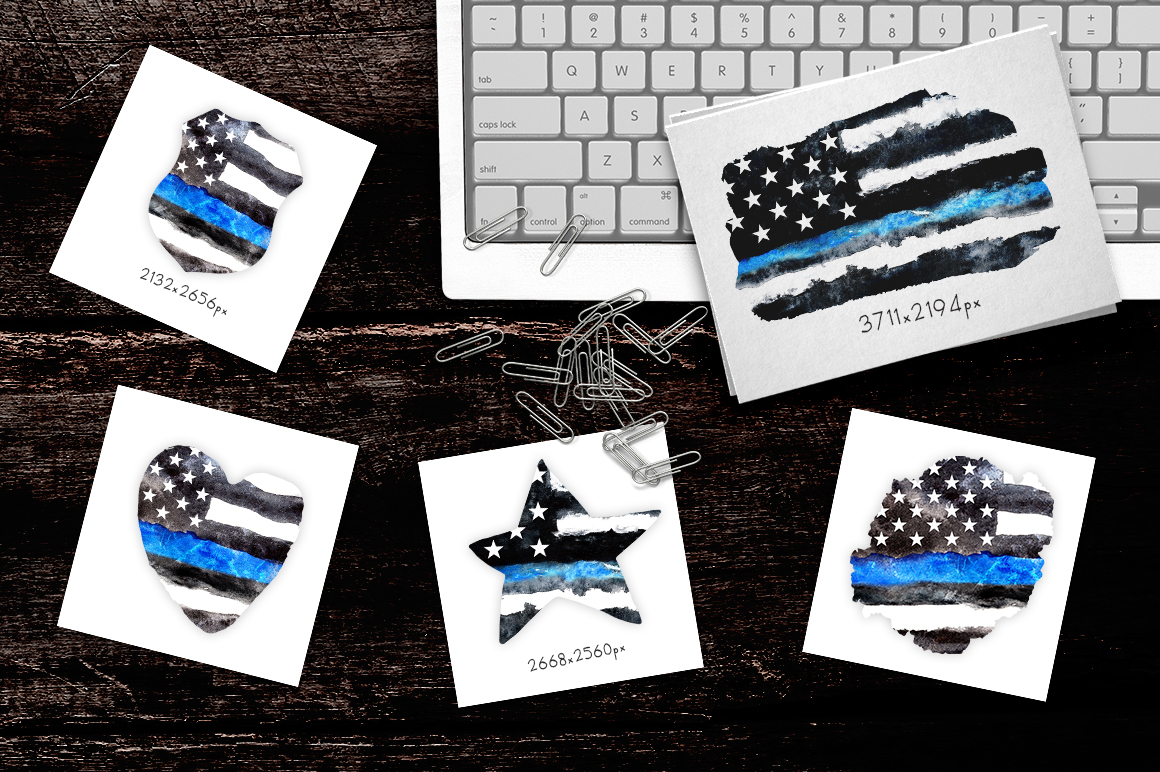 Police flag USA. Watercolor. example image 2