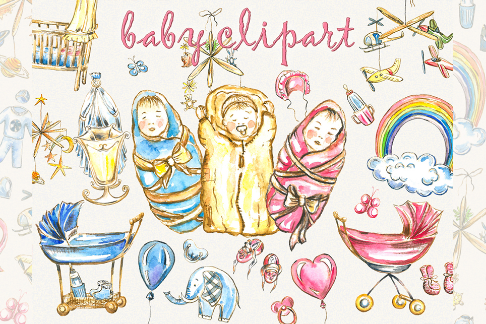 Baby clipart,pink baby clipart, baby girl clipart example image 7