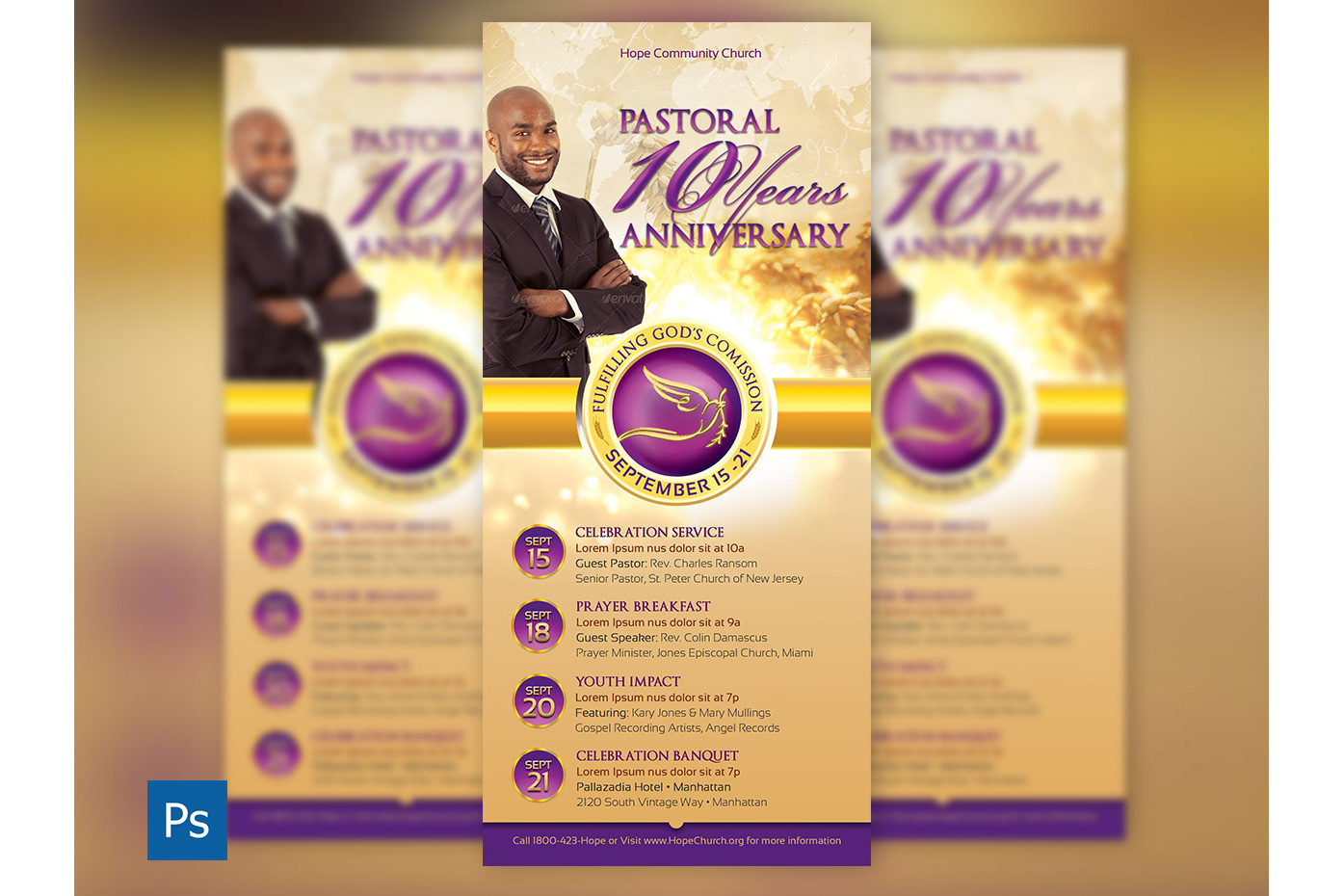 Clergy Anniversary Rack Card Template example image 1