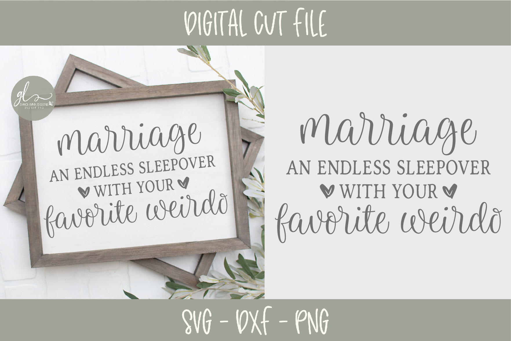 Marriage An Endless Sleepover With Your Favorite Weirdo SVG example image 1