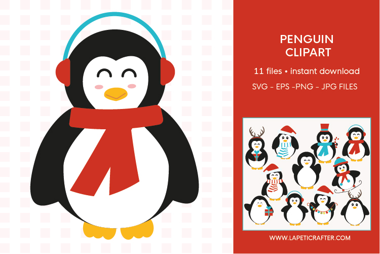 Christmas penguin clipart set, winter animals vector example image 12
