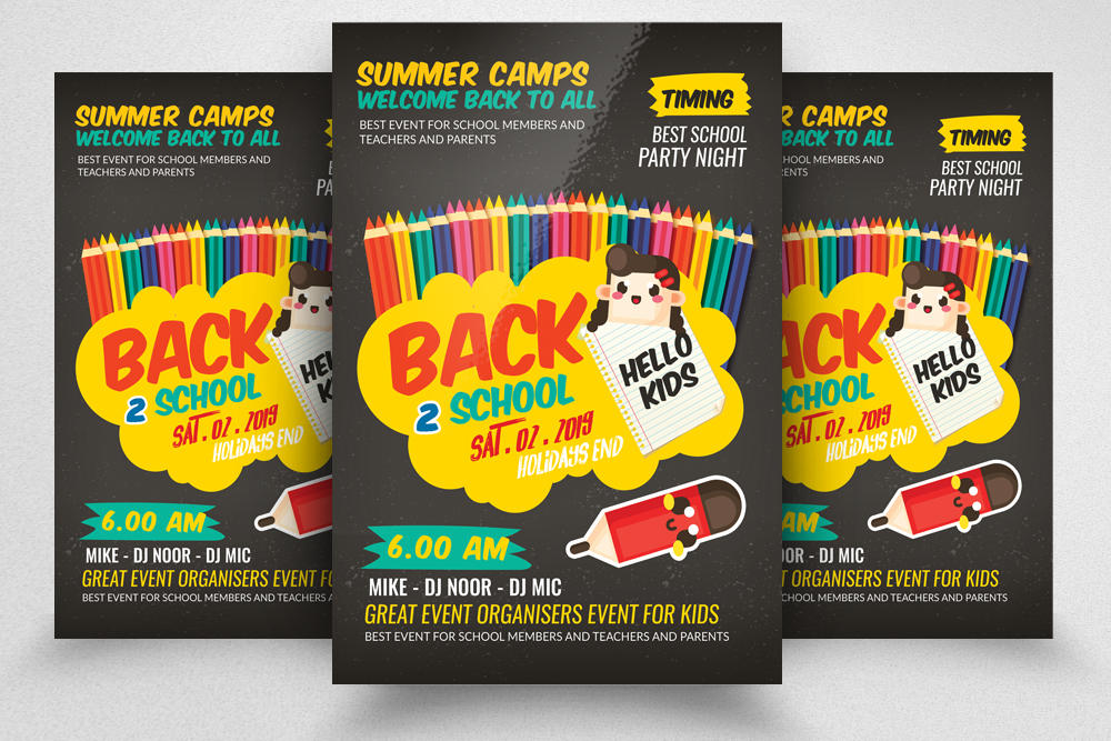 Back To School Party Flyer Template example image 1