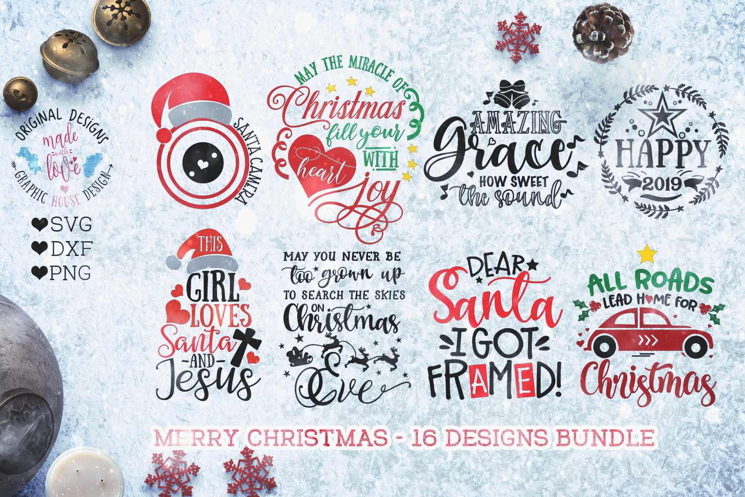 Merry Christmas Cut Files - Christmas Bundle example image 2