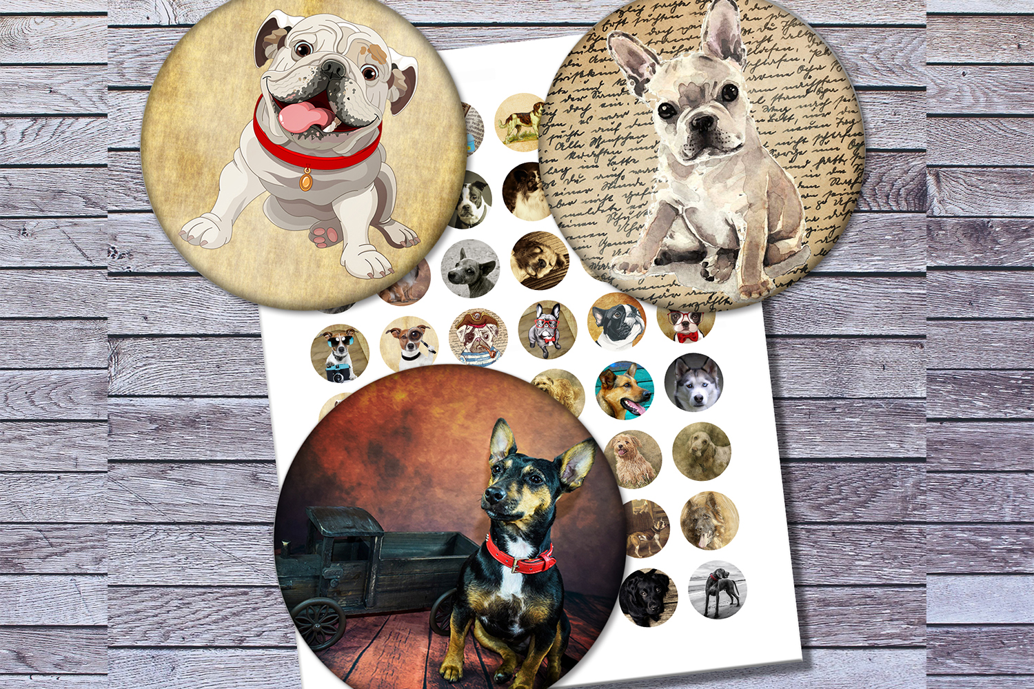 Vintage Dogs, Dogs Images, Digital Collage Sheet, Printables example image 2