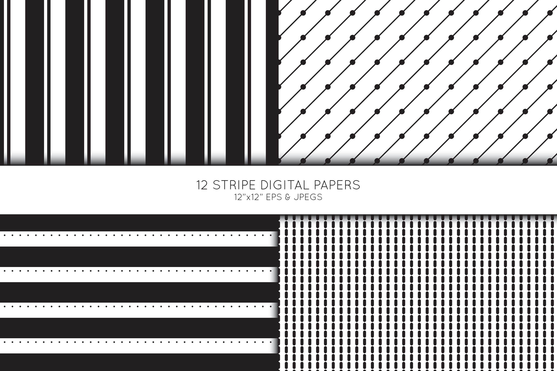Stripe Digital Paper, Striped Scrapbook paper example image 4