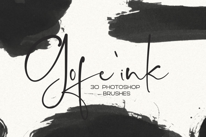 30 Gofe Ink Photoshop Brushes example image 1