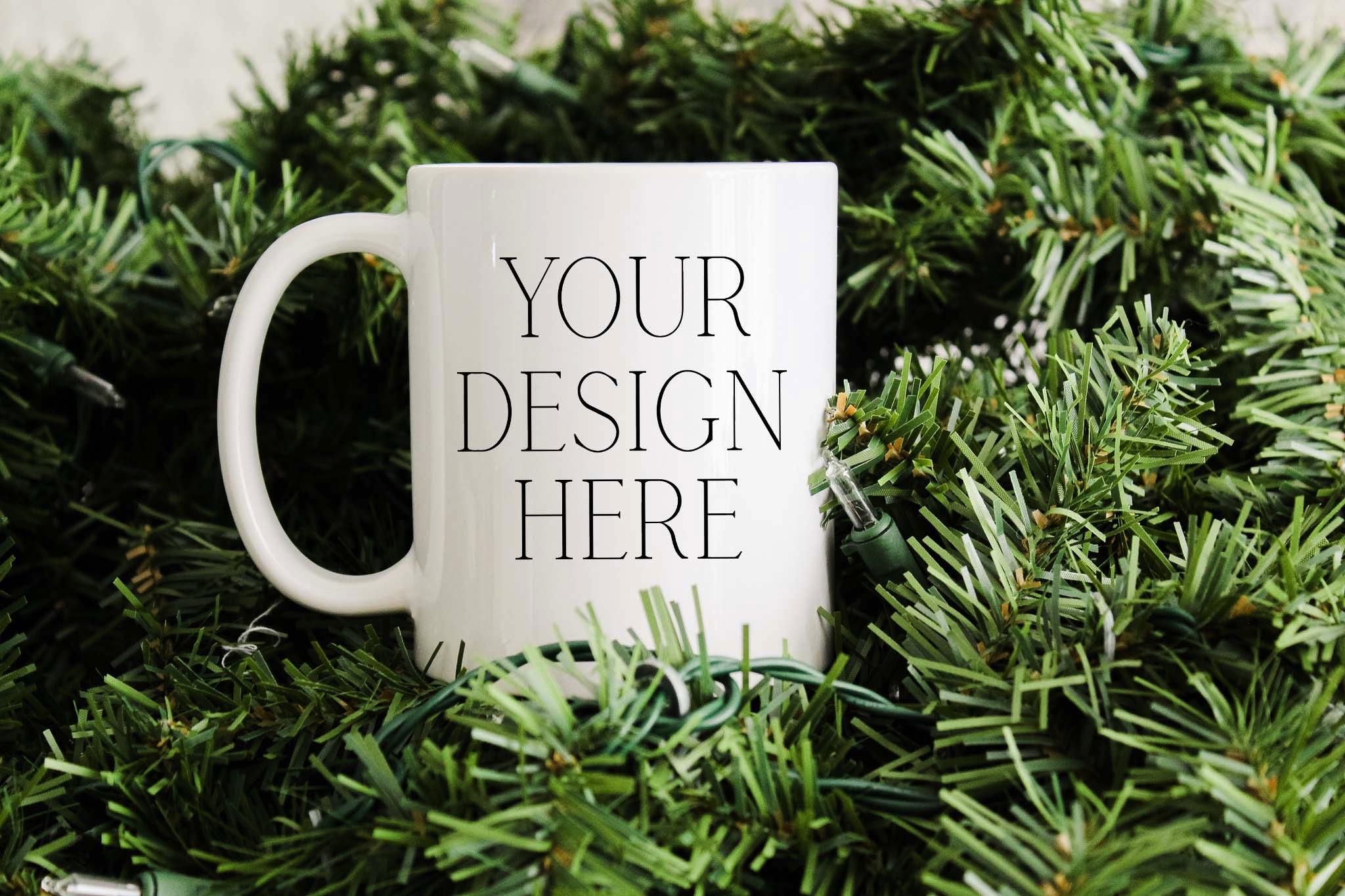 11 Ounce Pine Tree Christmas Mug Mockup example image 1