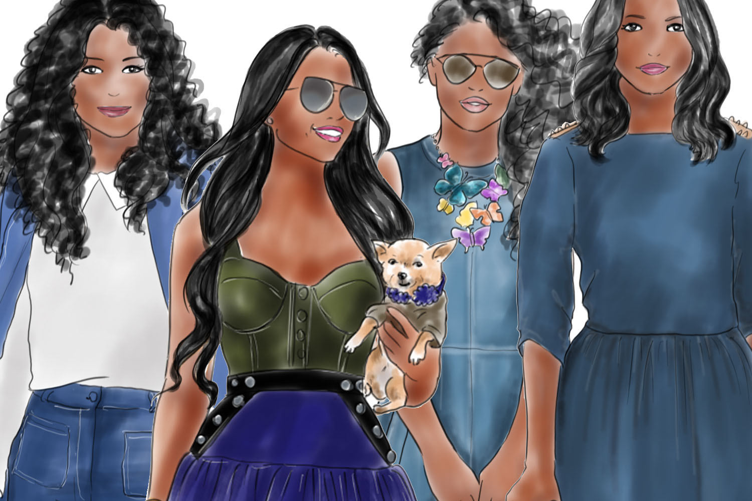 Watercolor fashion illustration clipart - Girls in Denim - Dark skin example image 3