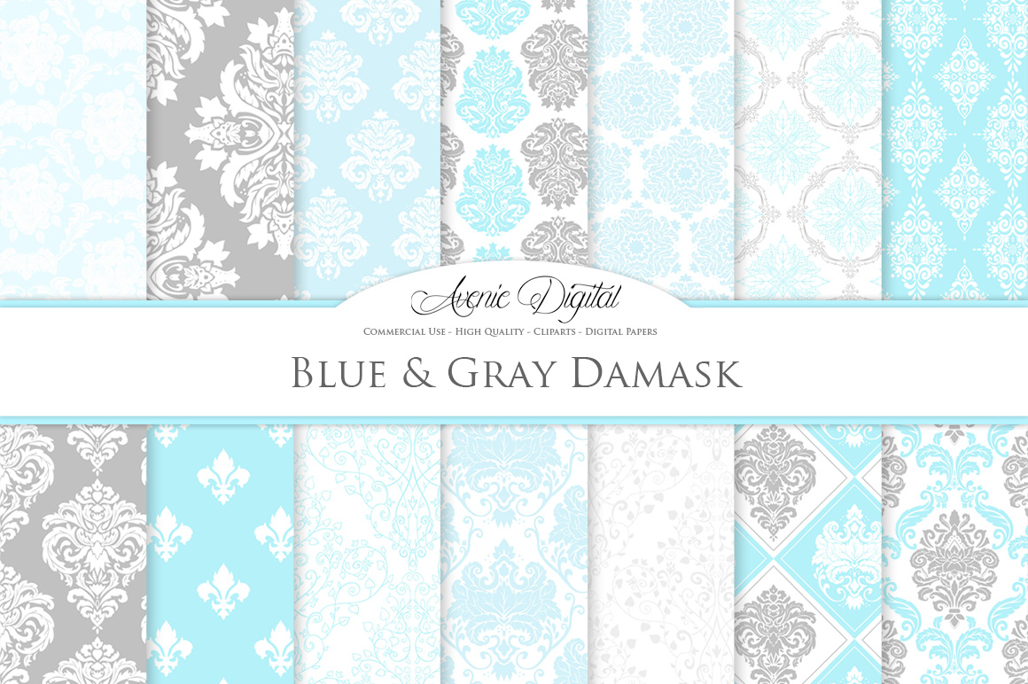 Blue and Grey Damask Patterns - Seamless Digital Papers example image 2
