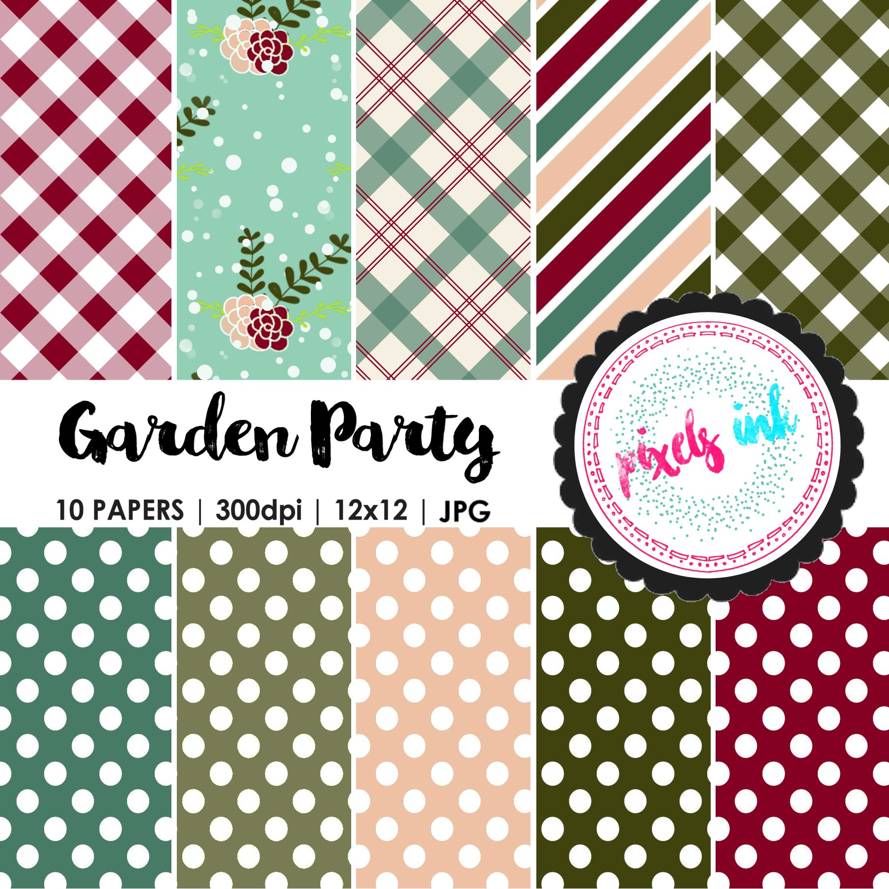 Garden Inspired Digital Papers example image 1