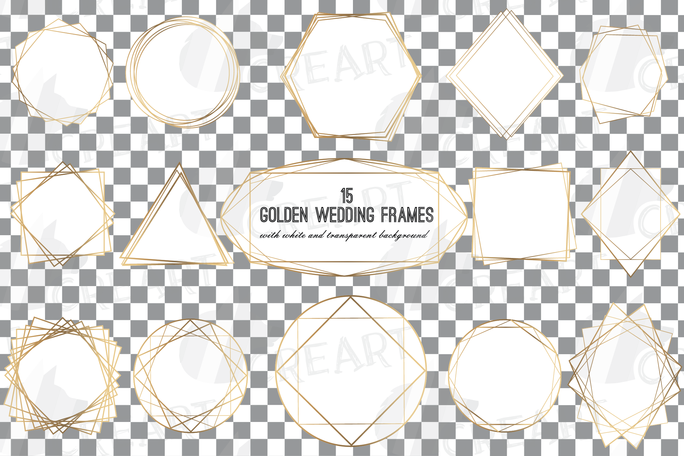 Elegant wedding geometric golden frames, lineal frames svg example image 2