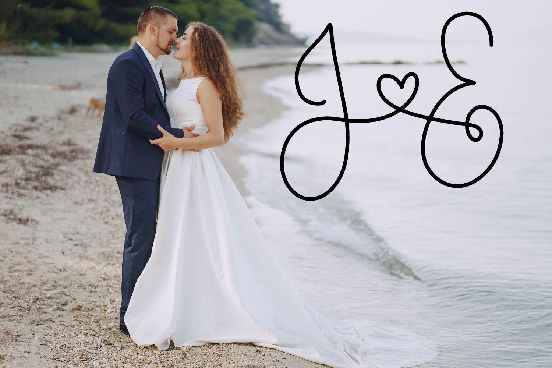 Couple Monoline Monogram Font - Perfect For Weddings! example image 2