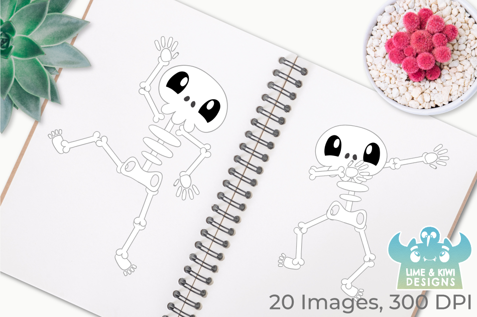Silly Skeletons Clipart, Instant Download Vector Art example image 3