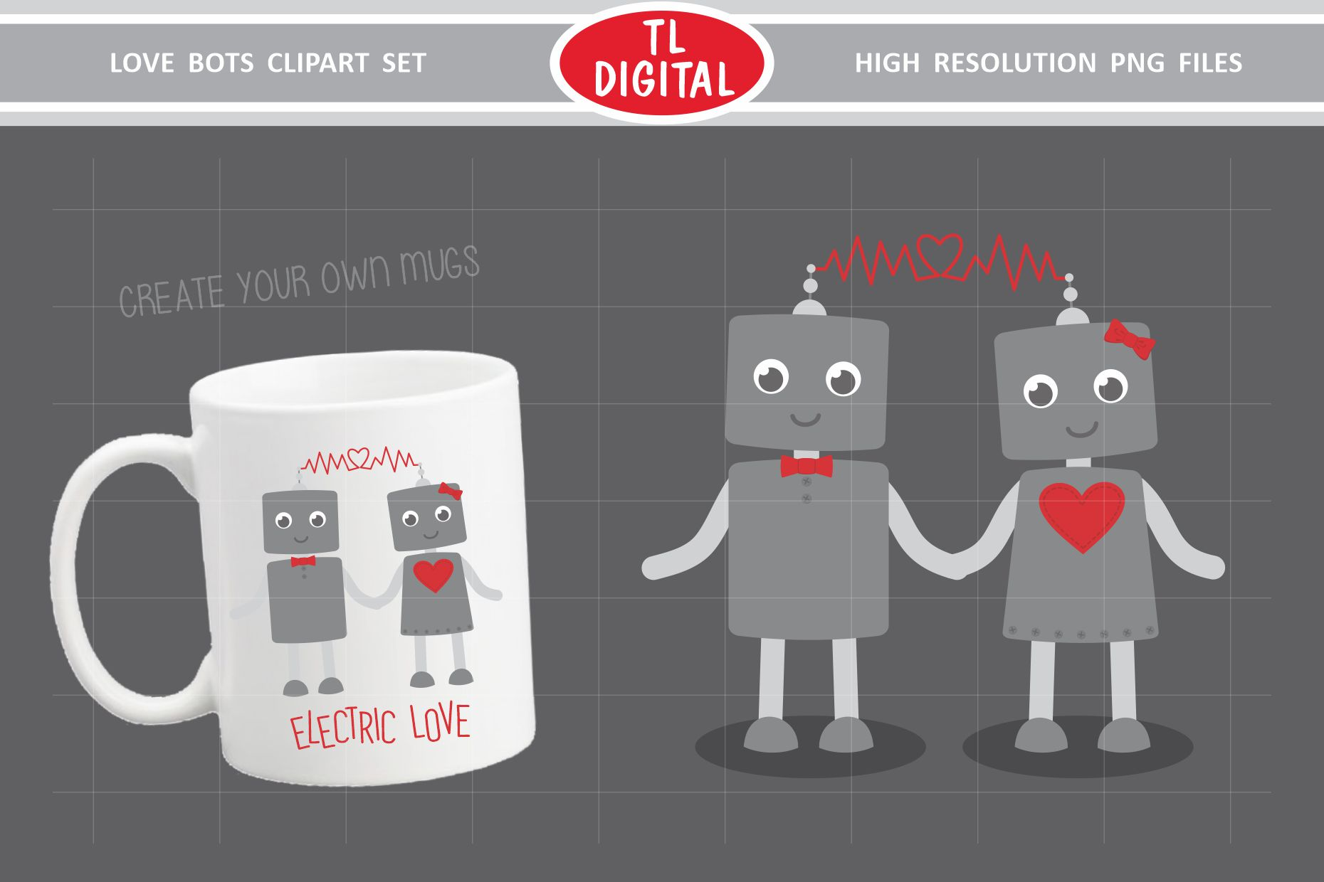 Love Robots Clipart Set - 13 Valentines PNG Graphics example image 4