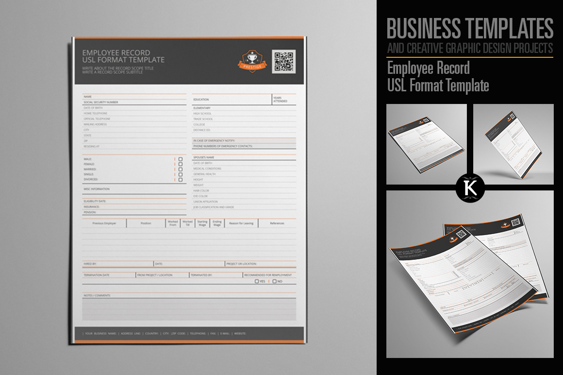 Employee Record USL Format Template example image 1