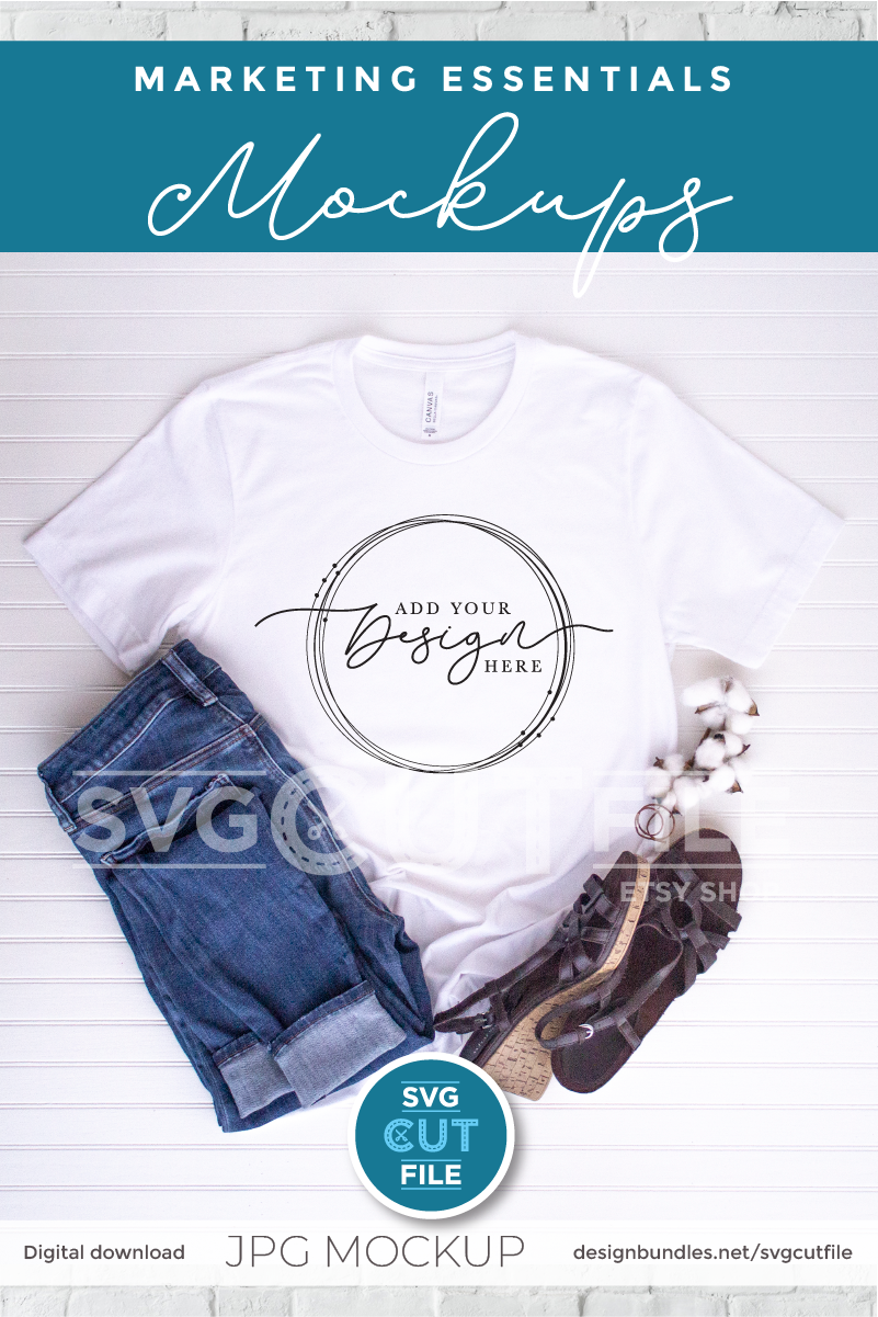 Mockup Bella Canvas 3001, white shirt jeans, cotton, sandals example image 2