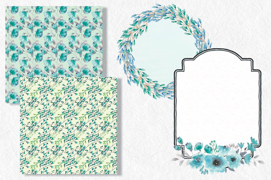 Watercolor clip art bundle: turquoise flowers example image 6