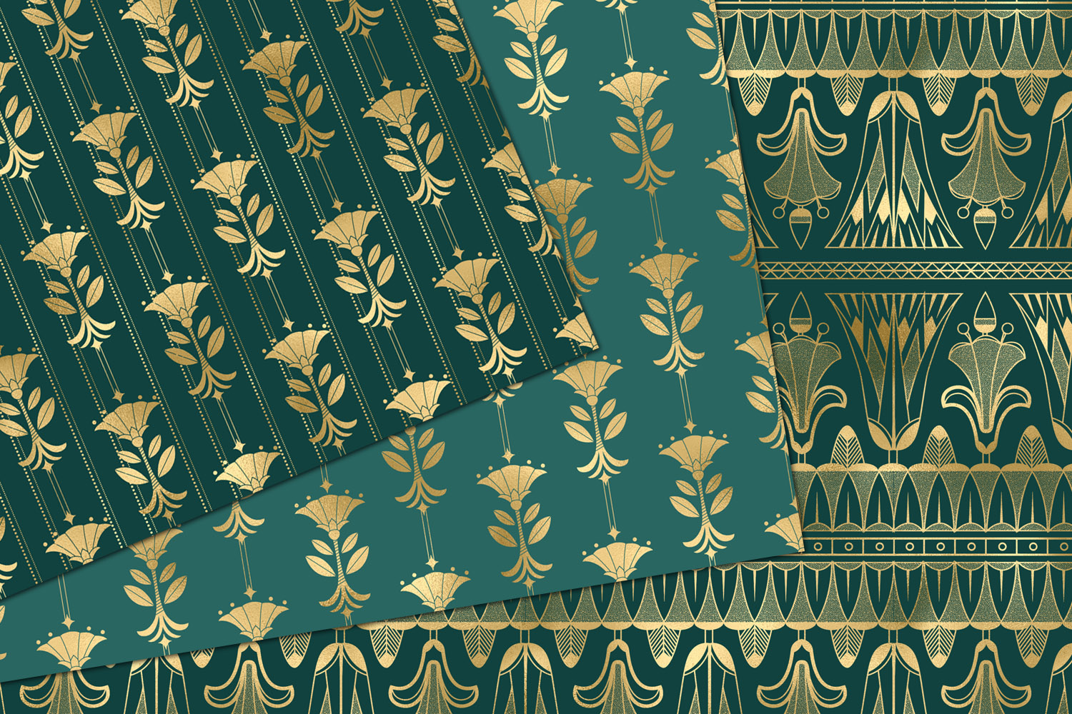 Teal and Gold Art Deco Digital Paper example image 3