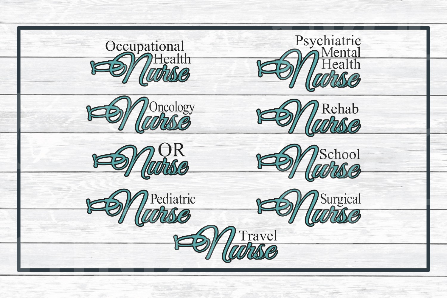 Nursing Titles, Types of Nurses Bundle SVG Cut Files example image 5