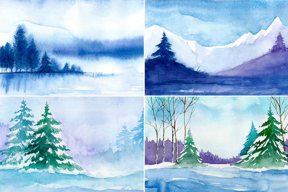 Winter Landscapes. Watercolor. example image 4