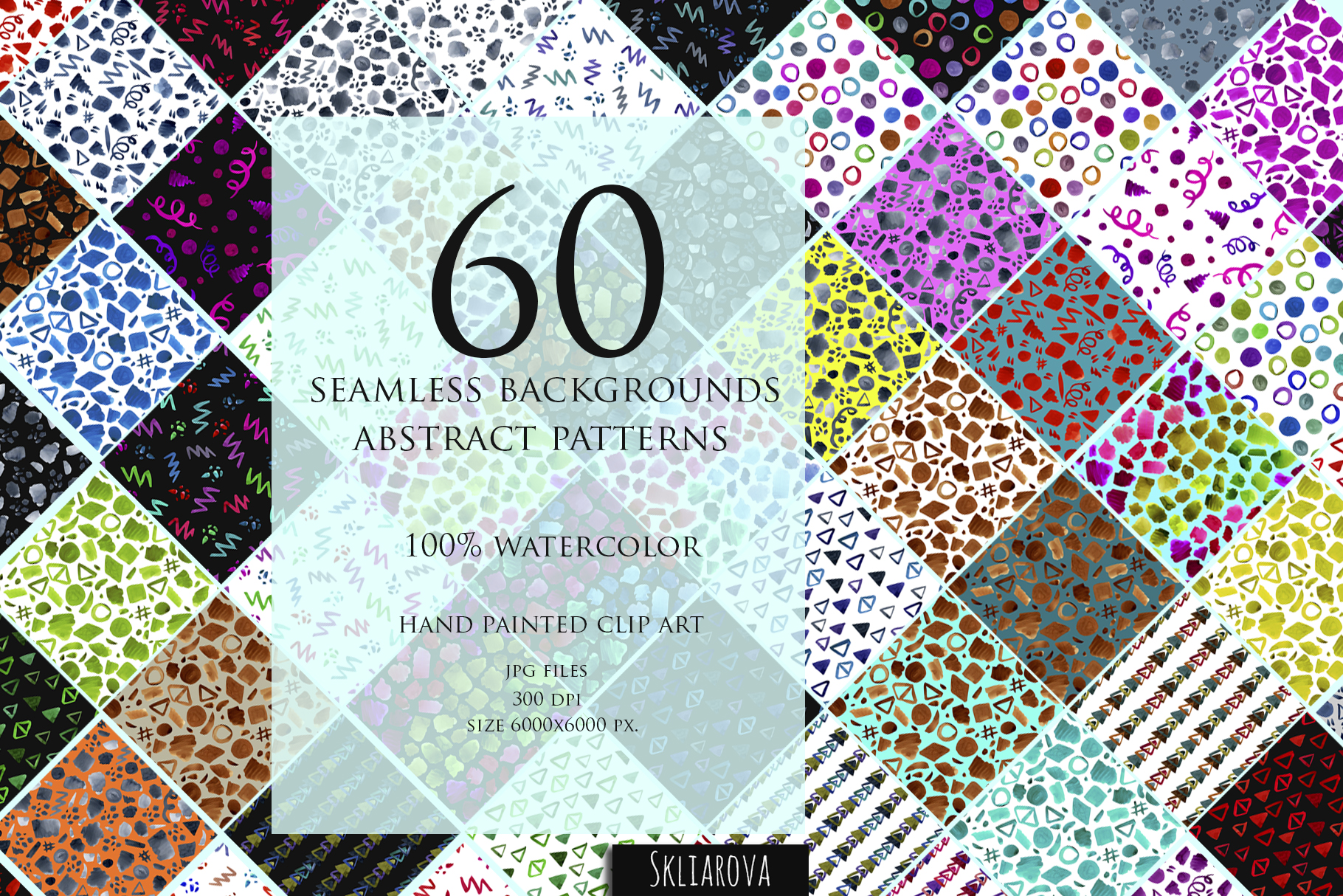 60 Abstract watercolor backgrounds. example image 1