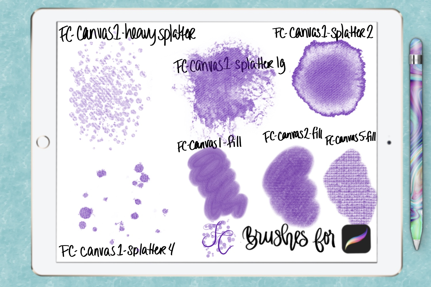 FC-canvas set 1 brushes for PROCREATE example image 8