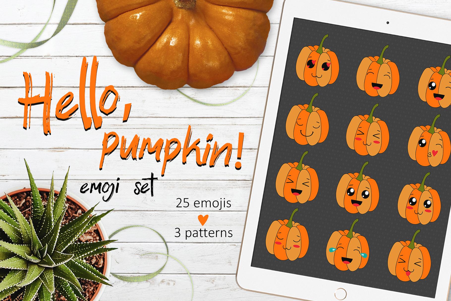 Funny Pumpkins Emoji Set And Patterns