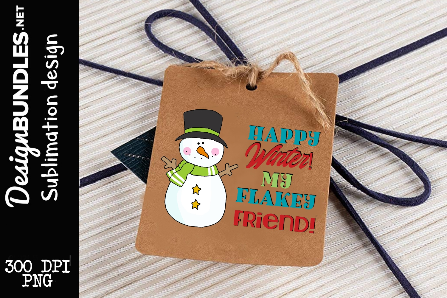 Flakey Friend Tag Sublimation Design example image 1