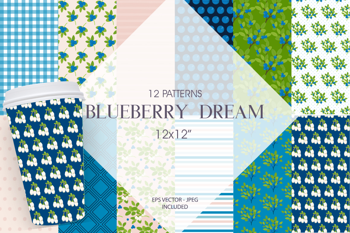 Blueberry Dream Pattern collection, vector ai, eps and jpeg example image 1